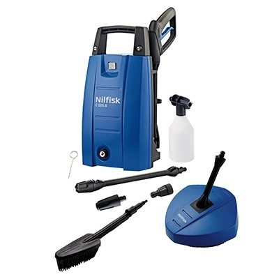 Nilfisk C105.6-5 Pressure Washer with Patio Cleaner & Wash Brush - Small Domestic Pressure ...